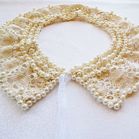 new-Collar Necklace-Pearl embroidery Lace collar-faux collars-peter pan collar-romantic Victorian