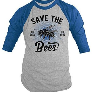 Men's T-Shirt Save The Bees No Food Bee Keeper Gift 3/4 Sleeve Raglan