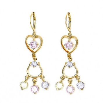Gold Layered Chandelier Earring, Heart Design, with Cubic Zirconia, Gold Tone
