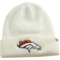 Mens Denver Broncos '47 Brand White Raised Cuffed Knit Hat