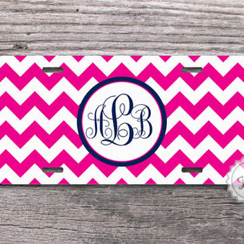 Hot Pink chevron license plate personalized monogrammed car tag in navy blue - 025