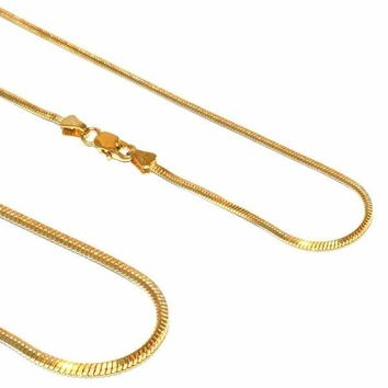 "1-1582-E12 Gold Layered Snake Chain, 2mm link, 16"" necklace, 20"" necklace,"