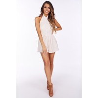 Catch Some Rays Button Up Halter Romper (Natural)