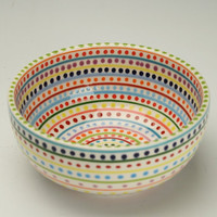 Colorful Stripes and Dots Bowl Cereal Soup Salad Hand Painted Dinnerware