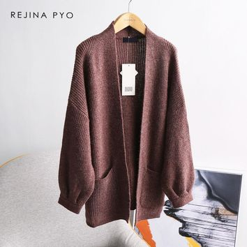 REJINAPYO Women Classic Merino Wool High Quality Solid Knitted Cardigans Ladies Elegant All-match Casual Open Stitch Sweater