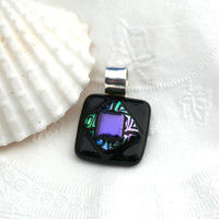Dichroic Glass and Silver Pendant Geometric Purple and Black