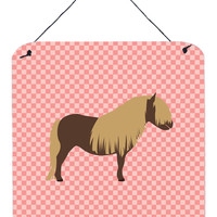 Shetland Pony Horse Pink Check Wall or Door Hanging Prints BB7914DS66