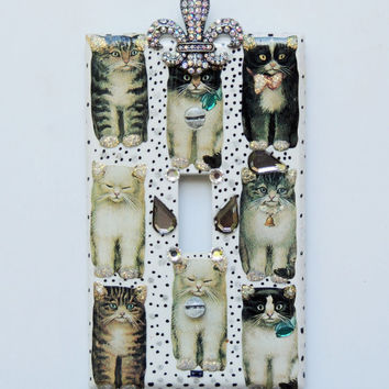 Cat Lovers light Switch Plate Cover Handmade with Swarovski Crystals embellishment