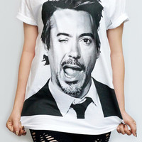 ROBERT Downey Jr Iron Man T-Shirt White T-Shirt Women Shirt Women T-Shirt Men T-Shirt Unisex T-Shirt Short Sleeve Tee Shirt Size M