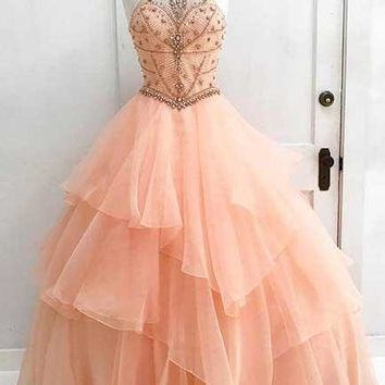 Charming High Neck Ruffle Beading Ball Gown Long Formal Prom Dress OK629