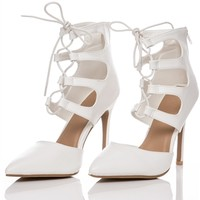 Ariana White Patent Lace Up Pointed Heel