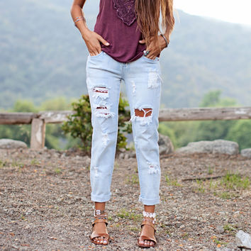 Rise and Shine Distressed Jeans