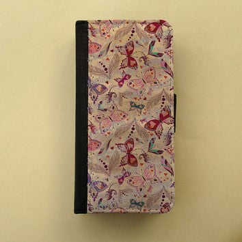 iPhone 4 5 flip case Samsung Galaxy S3 S4 leather wallet, flower iPhone wallet, book style, Samsung iPhone 5 - Vintage butterflies