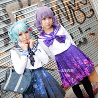 new ! harajuku style super Galaxy printing sailor uniform set | lolita |blue and purple | long version