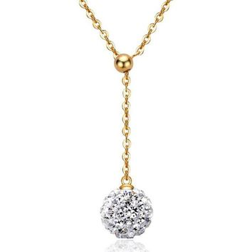 Gold Plated Crystal Rhinestone Ball Pendant Long Chain Necklace