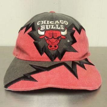 CREYUG7 Vintage 90's Chicago Bulls Drew Pearson Strapback Dad Hat NBA Basketball Pulse Design