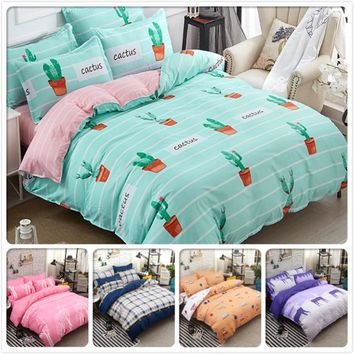 Cool Cactus Stripe 3/4 pcs Bedding Set Cotton Kids Bed Linen Full King Queen Twin Double Single SIze Duvet Cover 4/5/6/7 feet 1.8m 2mAT_93_12
