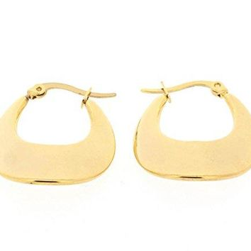 Ben and Jonah Stainless Steel Gold Plated Lucky Horseshoe Shaped Earring (26x24mm)