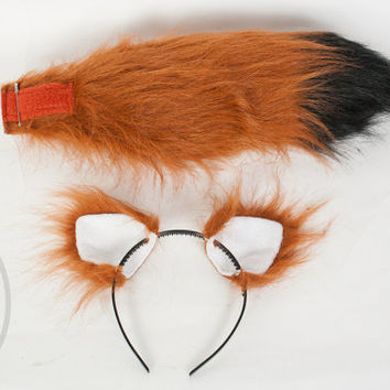 "SMALL Rust Furry Ear and/or 16"" Tail with black tip Set Cosplay, Accessories, Costume - for Kids or Adults"