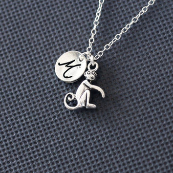 Monkey Necklace. Personalized Jewelry. charm initial jewelry. gift for friend sister mom her No11