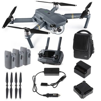 DJI Mavic PRO FLY MORE COMBO: Foldable Quadcopter Drone Kit with Remote 3 Batteries 16GB MicroSD Charging Hub Car Charger Power Bank Adapter Shoulder Bag.