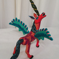 Oaxacan pegasus winged horse RARE Vintage Colorful Folk Art Animal Wooden Hand Painted Carved Wood Oaxacan Mexican Sculpture Creature SALE