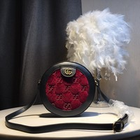 Kuyou Gb59828 Gucci Burgundy Dionysus Velvet Round Shoulder Bag With Gg Print 19cm