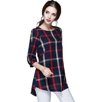 T Shirt Femme Autumn Cotton Linen Three Quarter Sleeve Casual Vintage Loose Plaid Women Tops&Tees Plus Size Oversized Shirts