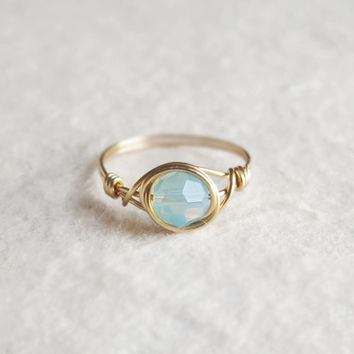 Mint Opal ring - unique ring - cute ring - wire wrapped ring