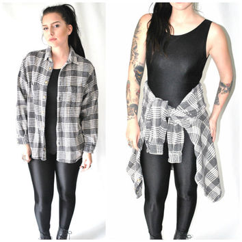 true 90s GRUNGE vintage flannel shirt SUN washed thick KNIT cotton small plaid button up shirt