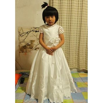 real photo Cute Flower Girls Dresses For Weddings New 2017 Cap Sleeve Bow Lace First Communion Dress For Girls Custom Made