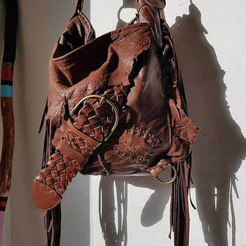 Cognac brown bag leather raw edges purse bohemian fringed fringe woodstock bag tote large asymmetrical distressed strap tribal free people