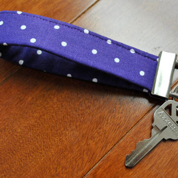 Fobskey  Fabric Key Fob  Purple/White Polka Dot by catonealdesigns