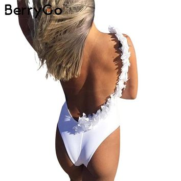 BerryGo Elegant women jumpsuit romper Backless white cotton bodysuit 2017 Bodycon overalls beach playsuit club leotard