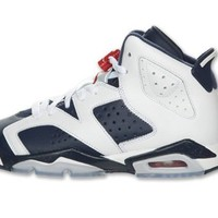 "Nike Air Jordan 6 VI Retro (GS) ""Olympic"" Boys Basketball Shoes 384665-130"