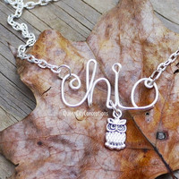 Chi-o, chi omega, alpha chi omega owl name necklace