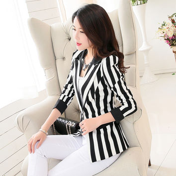 Brieuces 2017 Black And White Striped Blazer Jacket Women Suit Long Sleeves Lapel Coat Lined Single Button Vogue Blazers Jackets