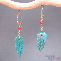 "Red coral with turquoise leaf, 1-1/4"" Earring Gold Or Silver"
