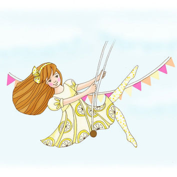 Childrens Art Print Carnival Girl Swing Lemon by wonderlaneart