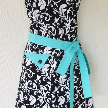 Black Damask Apron , Womens Full Apron , Retro Style , Black and White , Aqua Trim , KitschNStyle