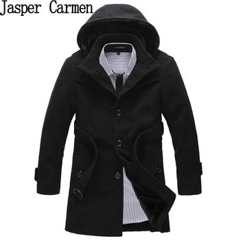 Free shipping Winter Korean single Breasted Jacket  Mens Hooded cotton Trench Coat Patchwork Overcoat Wool Coat 118hfx