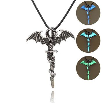 Vintage Glow In The Dark Cross Dragon Pendant-