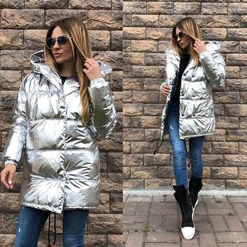 Women Bomber Long Cotton padded Down Jacket Hooded Faux Fox Fur Collar Coat Gilt silver Color Windbreaker hair collar parka