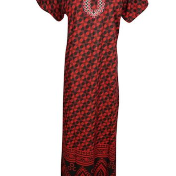 Red/Black Printed Cotton Nightwear Caftan Short Sleeves Button Front Sleepwear Evening Maxi Kaftan Dress L