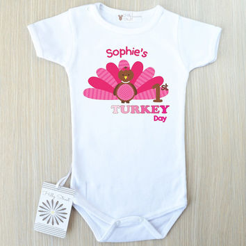 Baby Girl's First My Turkey Day Outfit. Pink Turkey Girl Shirt. Baby Clothes With Pink Turkey Print. Personalized Baby Turkey Romper.