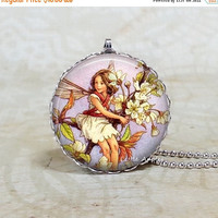 ON SALE Wild cherry blossom flower fairy necklace, English Countryside, glass tile pendant, faery
