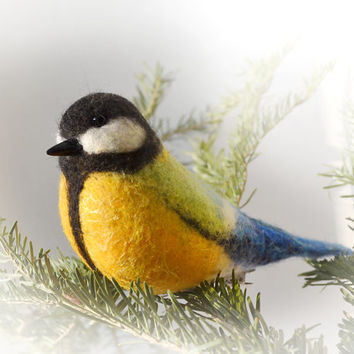 Christmas Gift Xmas Tree Decor. Great Tit (The handcrafted felted action figure of the beautiful bird).