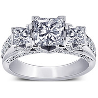 Princess & round diamonds 2.76 carat 3 stone style wedding ring gold