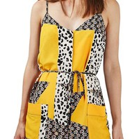 Topshop Animal & Daisy Patch Print Belted Romper | Nordstrom
