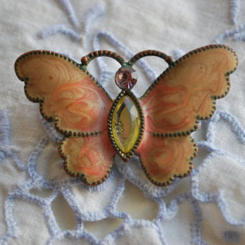 Pink Velvet Butterfly Brooch , Vintage Jewelry for Her